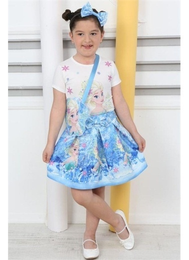 Riccotarz Kız Çocuk Çantalı Çiçekli Elsa Etekli Takım Mavi